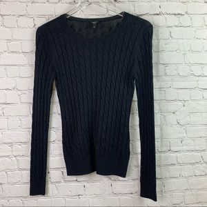 Talbots Sparkly Black Cable Knit Sweater Size P